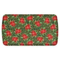 "GelPro Elite Comfort 20"" x 36"" Poinsettias Kitchen Mat in Red/Deep Forest"