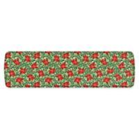 """GelPro Elite Comfort 20"""" x 72"""" Poinsettias Kitchen Mat in Red/Silver"""