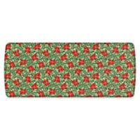 """GelPro Elite Comfort 30"""" x 72"""" Poinsettias Kitchen Mat in Red/Silver"""