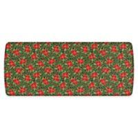 "GelPro Elite Comfort 30"" x 72"" Poinsettias Kitchen Mat in Red/Deep Forest"