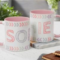 Stencil Name 11 oz. Coffee Mug in Pink