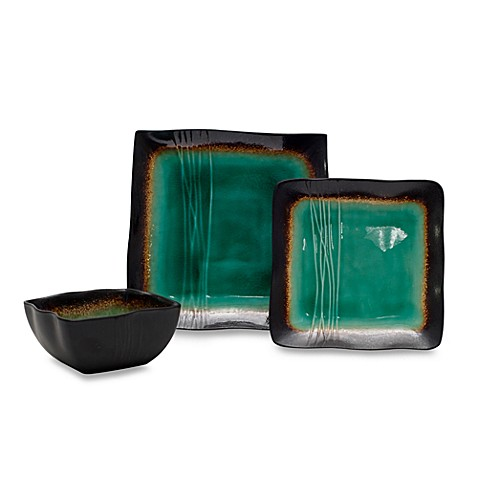 Baum Galaxy Square 12-Piece Dinnerware Set in Jade  sc 1 st  Bed Bath u0026 Beyond : jade dinnerware - pezcame.com