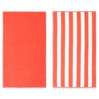 American Dawn Savannah Beach Towel in Coral (Set of 2)