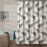 Lush Décor Hati Elephants Shower Curtain in Navy