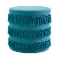 Elise Round Fringe Storage Ottoman in Blue
