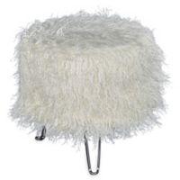 Addie Faux Fur Pin Leg Vanity Stool in White