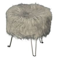 Addie Faux Fur Pin Leg Vanity Stool in Grey