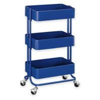 Raleigh 3-Tiered Metal Storage Cart in Blue