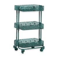 Lexy Floral 3-Tiered Metal Storage Cart in Turquoise
