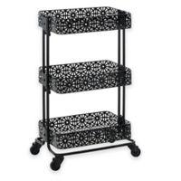 Lexy Floral 3-Tiered Metal Storage Cart in Black