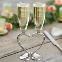 Connected Hearts Wedding Flutes (Set of 2)