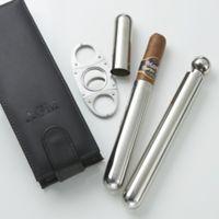 3-Piece Cigar Holder, Cutter and Flask Holder Set in Black
