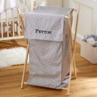 Embroidered Collapsible Laundry Hamper in Grey