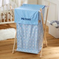 Embroidered Collapsible Laundry Hamper in Blue
