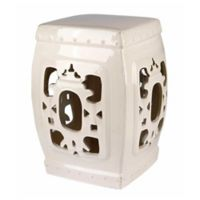 Abbyson Living® Akane Asian 19.5-Inch Ceramic Garden Stool in White
