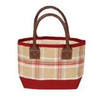 Small Plaid Tote Bag in Beige/Red