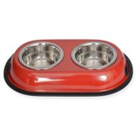 Iconic Pet Double Diner 1-Cup Feeding Bowls in Red (Set of 2)
