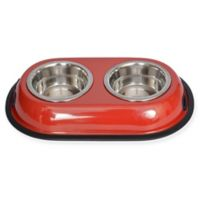 Iconic Pet Double Diner 4-Cup Feeding Bowls in Red (Set of 2)