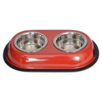 Iconic Pet Double Diner 4-Cup Feeding Bowls in Red