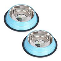 Iconic Pet Striped Non-Skid 1-Cup Pet Bowls in Blue (Set of 2)