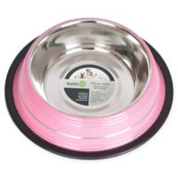 Iconic Pet Striped Non-Skid 1-Cup Pet Bowls in Pink (Set of 2)