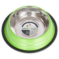 Iconic Pet Striped Non-Skid 4-Cup Pet Bowls in Green (Set of 2)