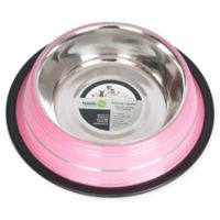 Iconic Pet Striped Non-Skid 8-Cup Pet Bowls in Pink (Set of 2)