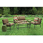 Metro 4-Piece Outdoor Conversation Set in Pearl White/Brown