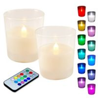 LumaBase Battery-Operated Color Changing LED Candles with Remote (Set of 2)