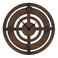 Household Essentials® Wood Disk Target Wall Clock