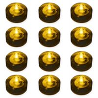 LumaBase® 12-Count Submersible LED Tea Light Candles in Amber