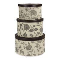 Household Essentials® 3-Piece Floral Hat Box Set in Tan/Black