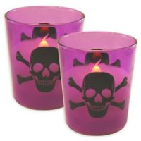 Battery Operated Wax Candles Filled in Skull and Crossbones Glass with Timer (Set of 2)