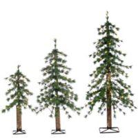 Pre-Lit Alpine Artificial Christmas Trees (Set of 3)