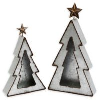 Gerson Metal Tree Candle Holders in Silver (Set of 2)