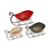 Gerson Metal Holiday Sleighs (Set of 3)