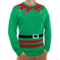 Mr. Christmas Light Up Elf Sweater in Green