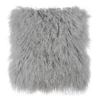 Tov Furniture Sheepskin Square Decorative Pillow in Grey