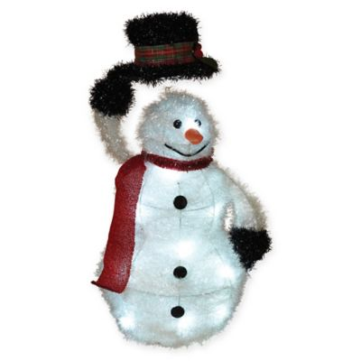 Buy outdoor snowman from bed bath beyond gerson outdoor tinsel snowman greentooth Images