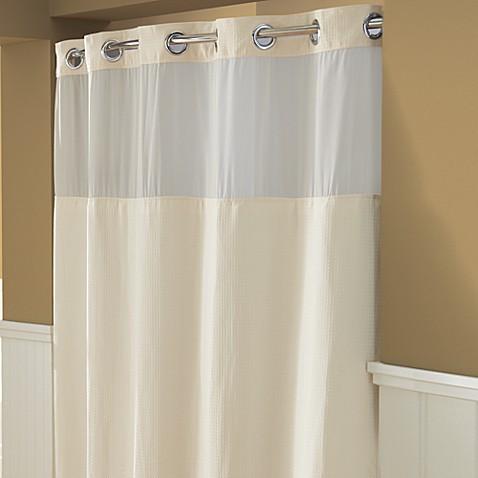 Buy Hooklessu00ae Waffle 71Inch x 74Inch Fabric Shower Curtain in Cream from Bed Bath u0026 Beyond