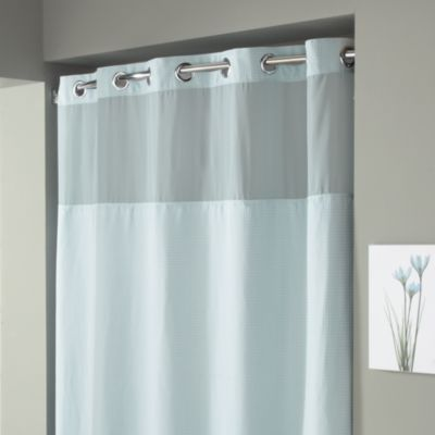 Superb Hookless® Waffle 71 Inch X 74 Inch Fabric Shower Curtain In Mist Blue