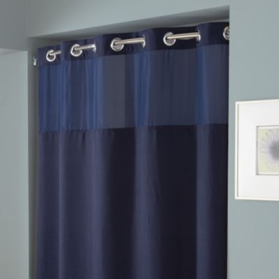 HooklessR Waffle 71 Inch X 74 Fabric Shower Curtain In Navy
