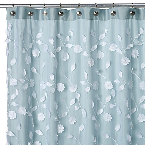 Floret Blue 70 Inch W X 72 Inch L Fabric Shower Curtain