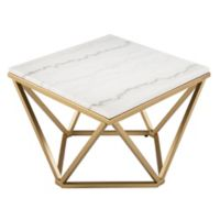 Southern Enterprises Marklin Marble Accent Table in Champagne/Ivory