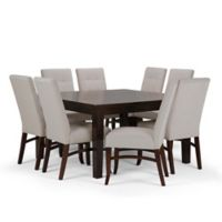 Simpli Home Ezra 9-Piece Dining Set in Dark Java Brown/Platinum