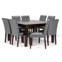Simpli Home Andover 9-Piece Dining Set in Dark Java Brown/Stone Grey