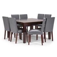 Simpli Home Ashford 9-Piece Dining Set in Java Brown/Stone Grey