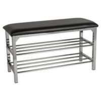 Danya B.™ Faux Leather Upholstered Bench in Black/chrome