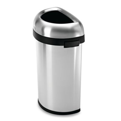 simplehuman  Brushed Stainless Steel Semi Round 60 Liter Open Trash Can. Buy Simplehuman Trash Cans from Bed Bath   Beyond
