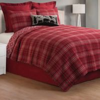 Andrew Plaid Reversible King Quilt Set in Red